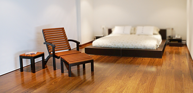 Leather bed and chair