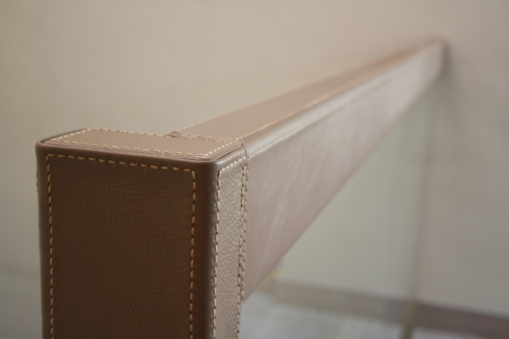 Nappa Leather Railing. Handmade stitching with italian thread.