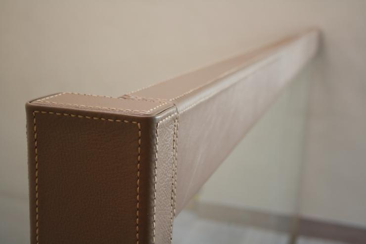 Nappa Leather Railing. Handmade stitching with italian thread.