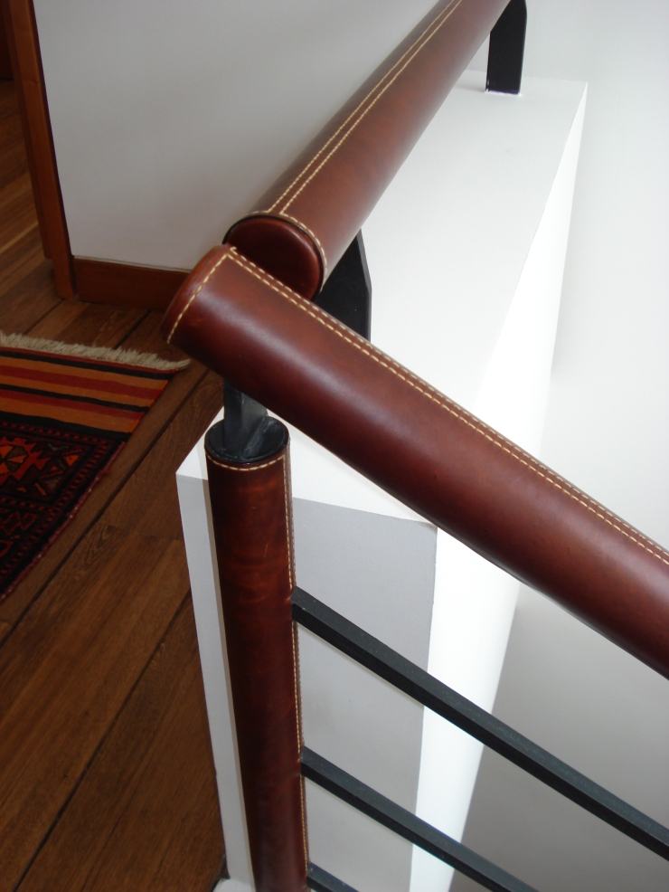 Leather Railing. Handmade stitching with italian thread.