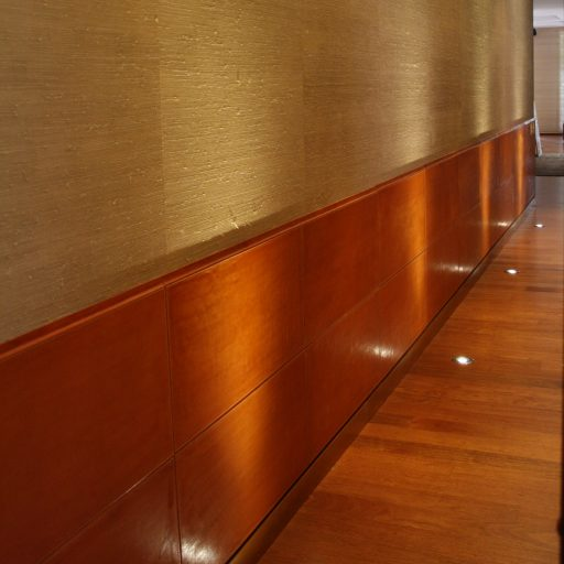 Leather and textile wall.