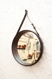 Leather mirror frame