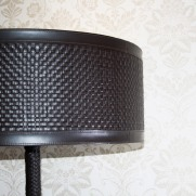 Woven leather lamp