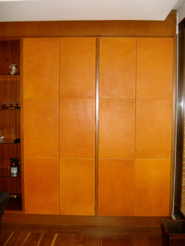 Bar leather doors. Handmade stitching with italian thread.