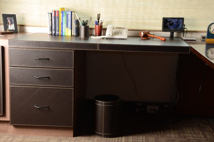 Leather desk with accessories
