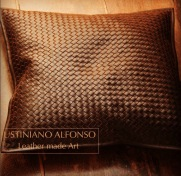 Leather Woven Cushion