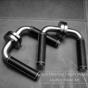 Steel and leather handles